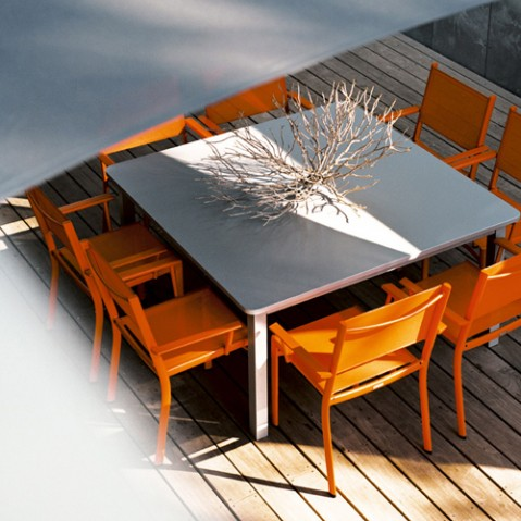table carree craft fermob tilleul