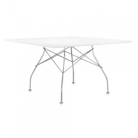 table carree glossy kartell blanc