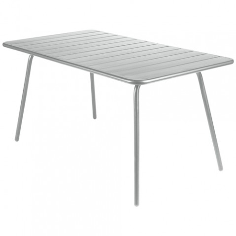 Table luxembourg 143x80cm gris metal de fermob for Table luxembourg fermob