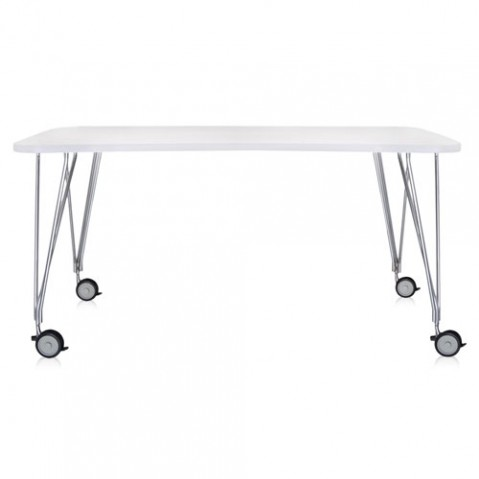 table max roulettes 160 kartell blanc