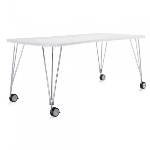 table max roulettes 190 kartell blanc