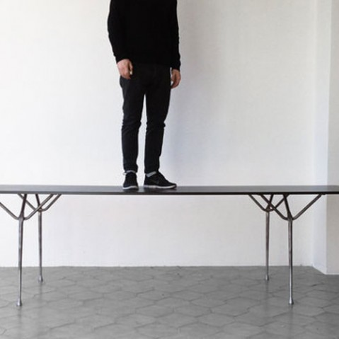 table officina 240 magis galvanise acier noir