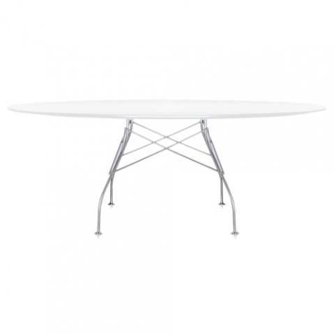 table ovale glossy kartell blanc