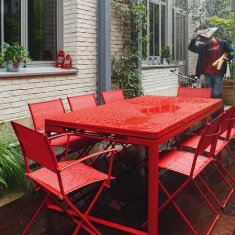 table rallonges biarritz fermob rouille