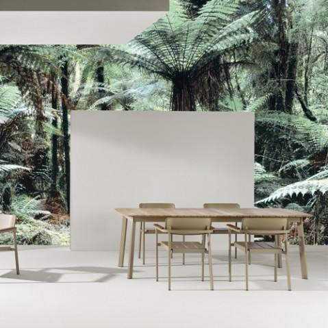 table extensible shine teck emu marron