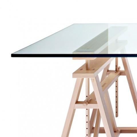 table treteaux teatro magis plateau verre