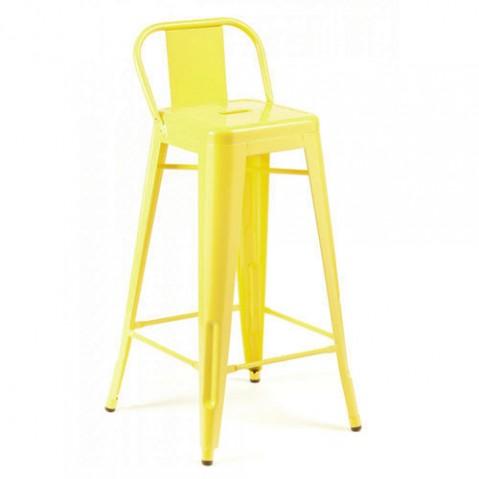 tabouret petit dossier h65 jaune ral 1018 laque de tolix. Black Bedroom Furniture Sets. Home Design Ideas