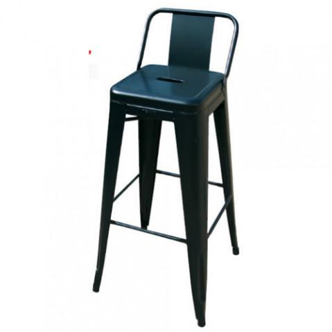 tabouret petit dossier h65 noir mat de tolix. Black Bedroom Furniture Sets. Home Design Ideas