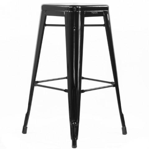 tabouret h75 noir ral 9005 laque de tolix. Black Bedroom Furniture Sets. Home Design Ideas