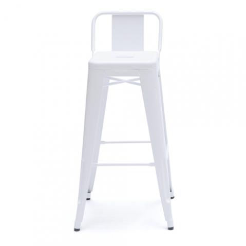Tabouret H75 Petit Dossier Design Tolix Blanc