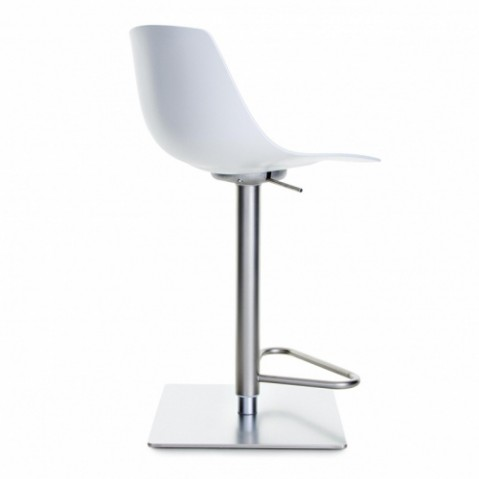 miunn tabouret de bar 54 79cm inox laqu blanc de la palma. Black Bedroom Furniture Sets. Home Design Ideas