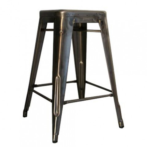 tabouret h65 brut verni brillant de tolix. Black Bedroom Furniture Sets. Home Design Ideas
