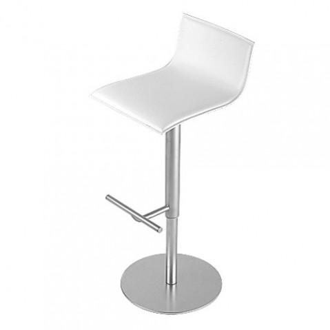 Thin Tabouret Haut Design La Palma Cuir Blanc