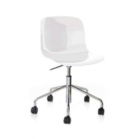 chaise troy roulettes magis chrome blanc