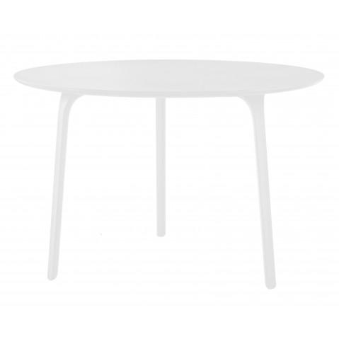 TABLE FIRST AVEC PLATEAU EN MDF VERNI, Ø.80 x 75 cm, Blanc de MAGIS