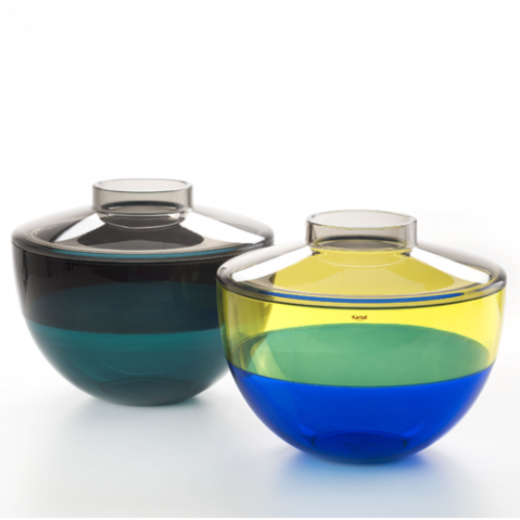 vase shibuya kartell gris fume bleu