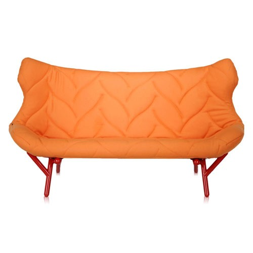 canape foliage 3 places rouge drap de laine orange de. Black Bedroom Furniture Sets. Home Design Ideas