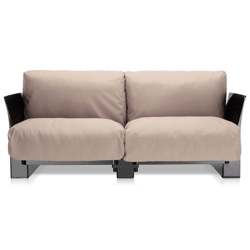 canape pop outdoor 2 places structure noire tissu tourterelle de kartell. Black Bedroom Furniture Sets. Home Design Ideas