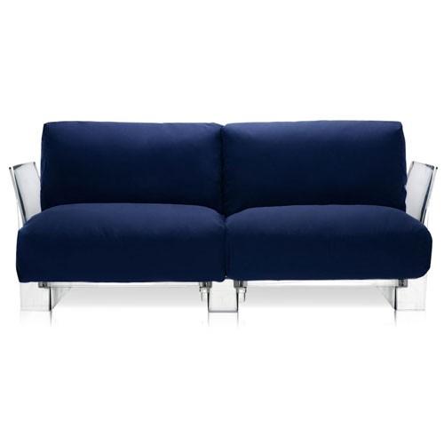 canape pop outdoor 2 places structure transparente tissu bleu de kartell. Black Bedroom Furniture Sets. Home Design Ideas