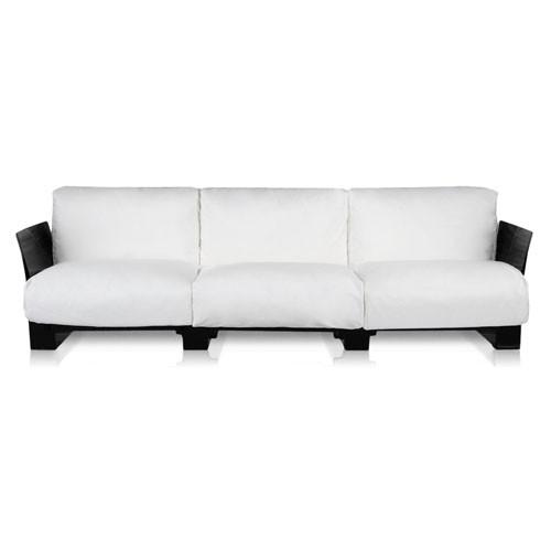 canape pop outdoor 3 places structure noire tissu blanc de kartell. Black Bedroom Furniture Sets. Home Design Ideas