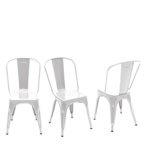 Chaise A Tolix laqué blanc