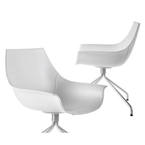 cox fauteuil inox cuir blanc de la palma. Black Bedroom Furniture Sets. Home Design Ideas
