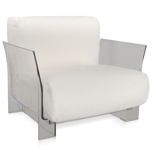 fauteuil pop outdoor new structure transparente tissu ikon blanc de kartell. Black Bedroom Furniture Sets. Home Design Ideas