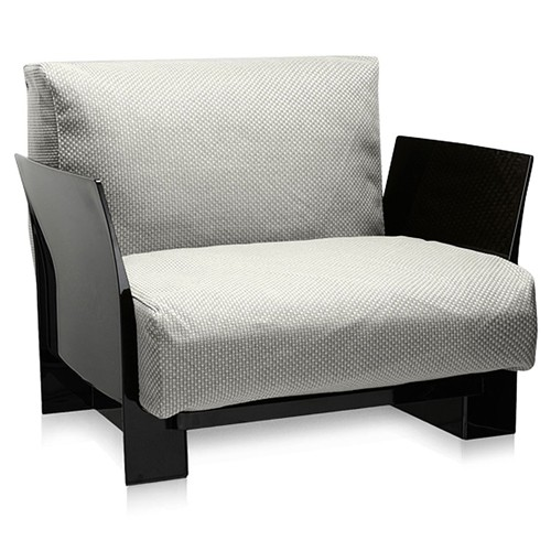 fauteuil pop outdoor new structure noire tissu ikon blanc de kartell. Black Bedroom Furniture Sets. Home Design Ideas