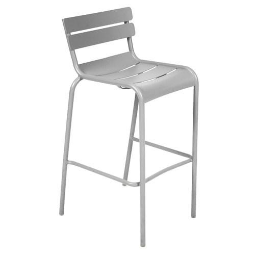 tabouret haut luxembourg gris metal de fermob. Black Bedroom Furniture Sets. Home Design Ideas