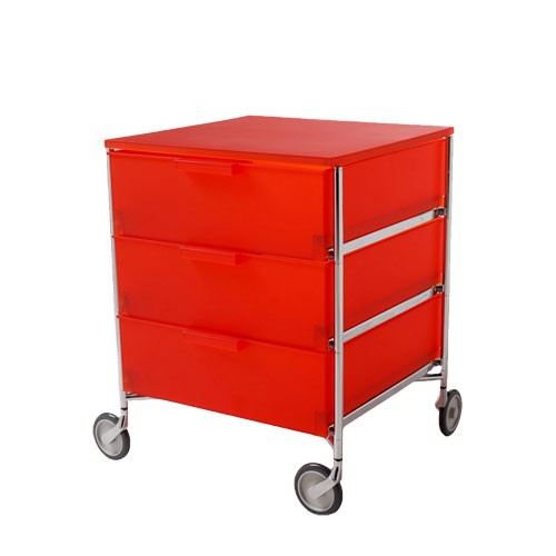 Caisson rangement mobil 3 tiroirs orange de kartell for Bureau kartell