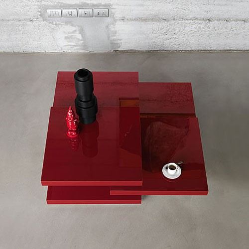 Rotor laque table basse laqu rouge de kristalia for Table de cuisine rouge laque