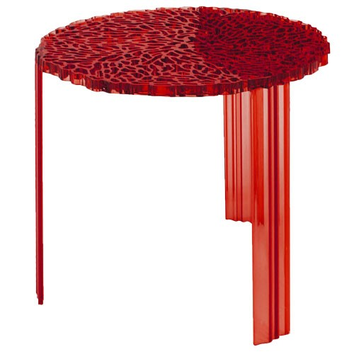 table basse t table hauteur 44 cm transparent rouge de kartell. Black Bedroom Furniture Sets. Home Design Ideas
