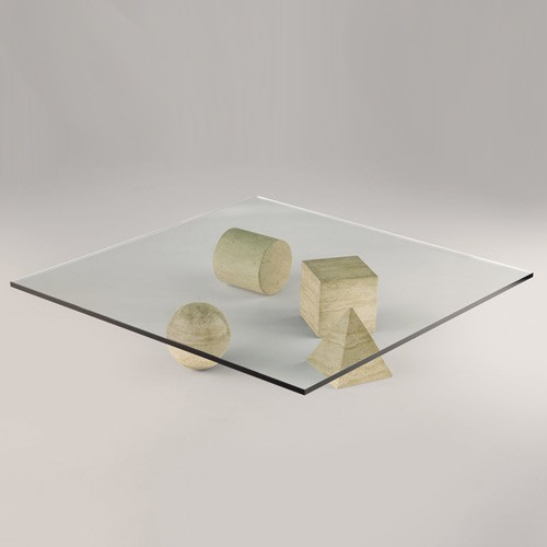 METAFORA - TABLE BASSE TRAVERTIN de MARTINELLI LUCE