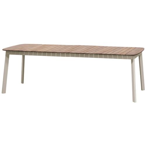 TABLE EXTENSIBLE SHINE, Plateau teck / Piétement Tourterelle de EMU