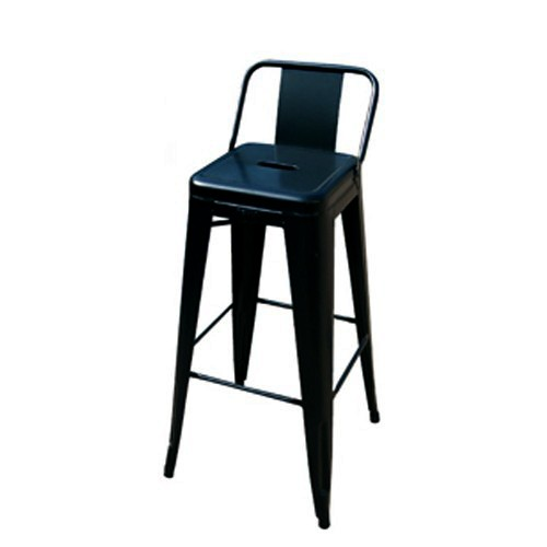tabouret petit dossier h75 noir ral 9005 de tolix. Black Bedroom Furniture Sets. Home Design Ideas