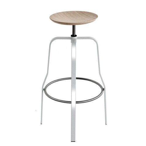 giro tabouret de bar 66 76cm inox chene blanchi de la palma. Black Bedroom Furniture Sets. Home Design Ideas