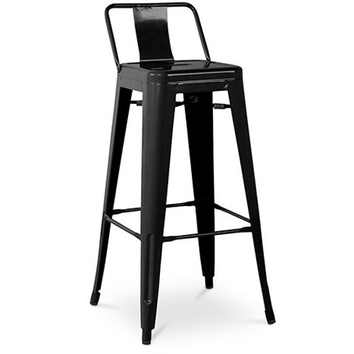 tabouret petit dossier h70 h 70 cm noir ral 9005 de tolix. Black Bedroom Furniture Sets. Home Design Ideas